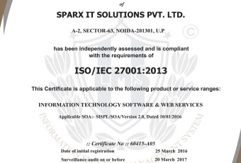 Sparx IT Solutions Is Now ISO 27001:2013 Certified For Advanced Security Standards