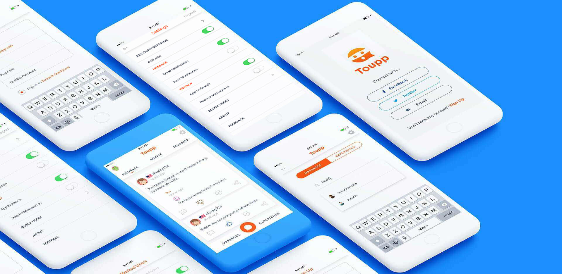 Anonymous Messaging App Screens