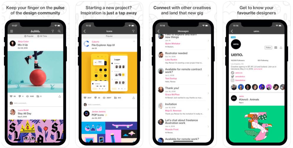 Dribbble App Screens